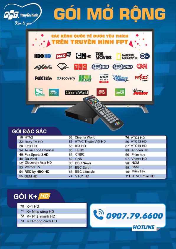 Danh sách kênh gói mở rộng truyền hình FPT