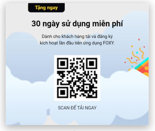 Quyét mã QR để tải ứng dụng Foxy